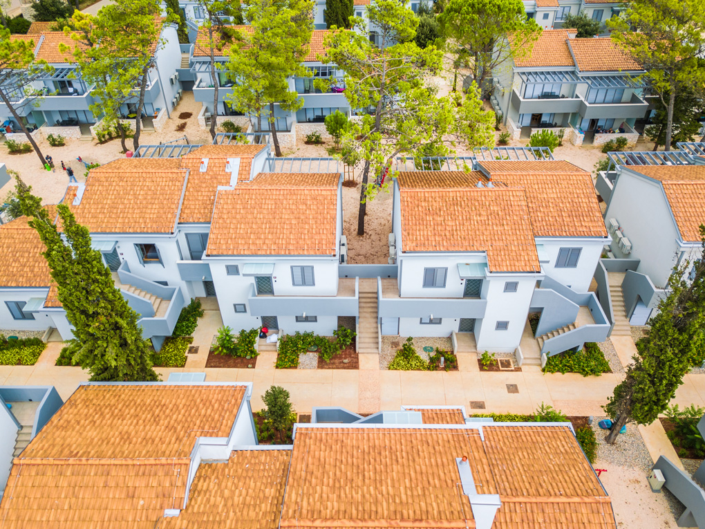 Aerial view of apartments in Zaton Holiday Resort