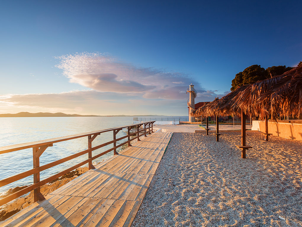 A beach in the city of Zadar