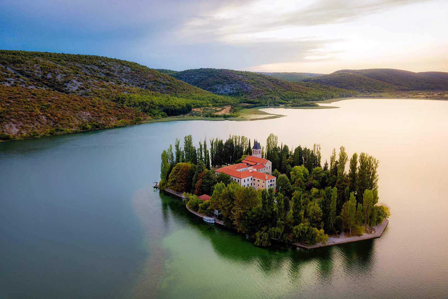 The island of Visovac in Krka National Park